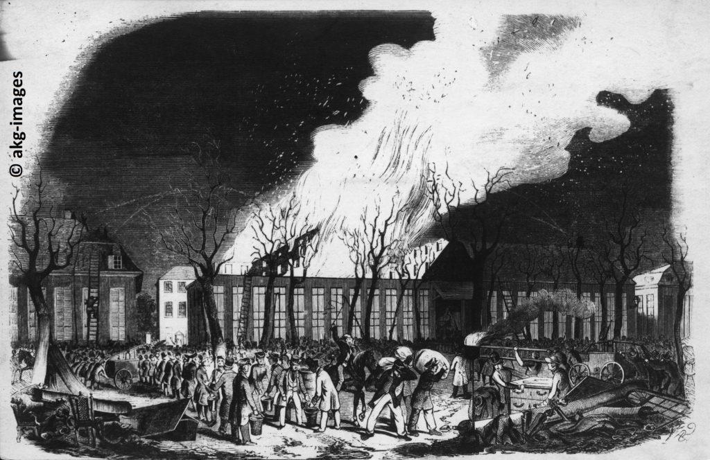 """Der Brand des Großherzoglichen Hoftheaters zu Karlsruhe 1847, Holzstich aus der """"Illustrirten Zeitung"""" vom 8. April 1847, © akg-images GmbH, Berlin"""