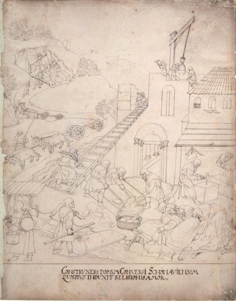 Zeichnung mit der Errichtung des Zisterzienserklosters © Germanisches Nationalmuseum, Nürnberg