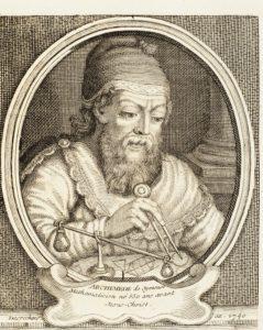 Der bedeutende griechische Mathematiker, Physiker und Ingenieur Archimedes (Holzstich, 18. Jahrhundert), © AKG-Images GmbH, Berlin