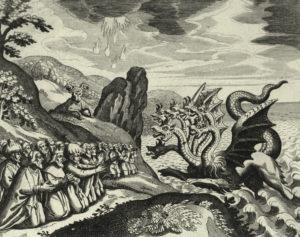 Das endzeitliche Tier steigt aus dem Meer, wie es in der Offenbarung des Johannes geschrieben steht, denkbar als Symbol des wiederkehrenden Nero. Kupferstich von Pierre Mariette 1670 nach Matthäus Merian d. Ä. © akg-images