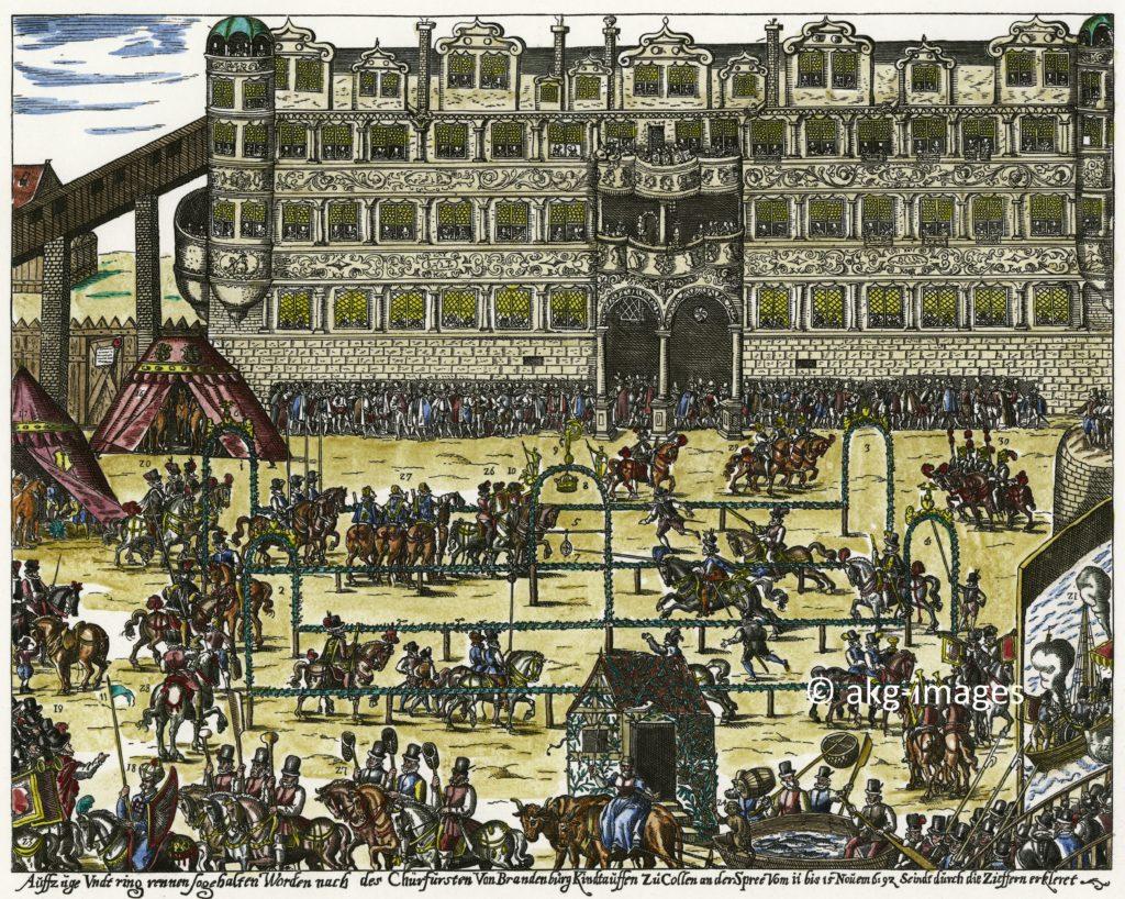 Der zeitgenössische Kupferstich von Uffenbach um 1592 zeigt den Stechbahnflügel des Berliner Renaissanceschlosses und ein Ringrennen auf dem Stechplatz anlässlich der Taufe des Markgrafen Johann Sigismund von Brandenburg. Links geht der hölzerne Verbindungsgang zum Glockenturm ab. © akg-images