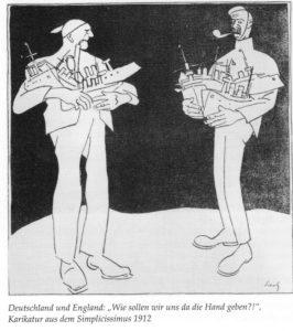 """""""Wie sollen wir uns da die Hand geben?"""" Zeitgenössische Karikatur zum deutschbritischen Flottenwettrüsten aus dem """"Simplicissimus"""". © Archiv Deutscher Marinebund / Scarborough Museums Trust"""