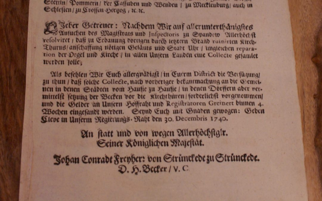 1740: Der Kirchturm der Nikolaikirche in Spandau brennt!